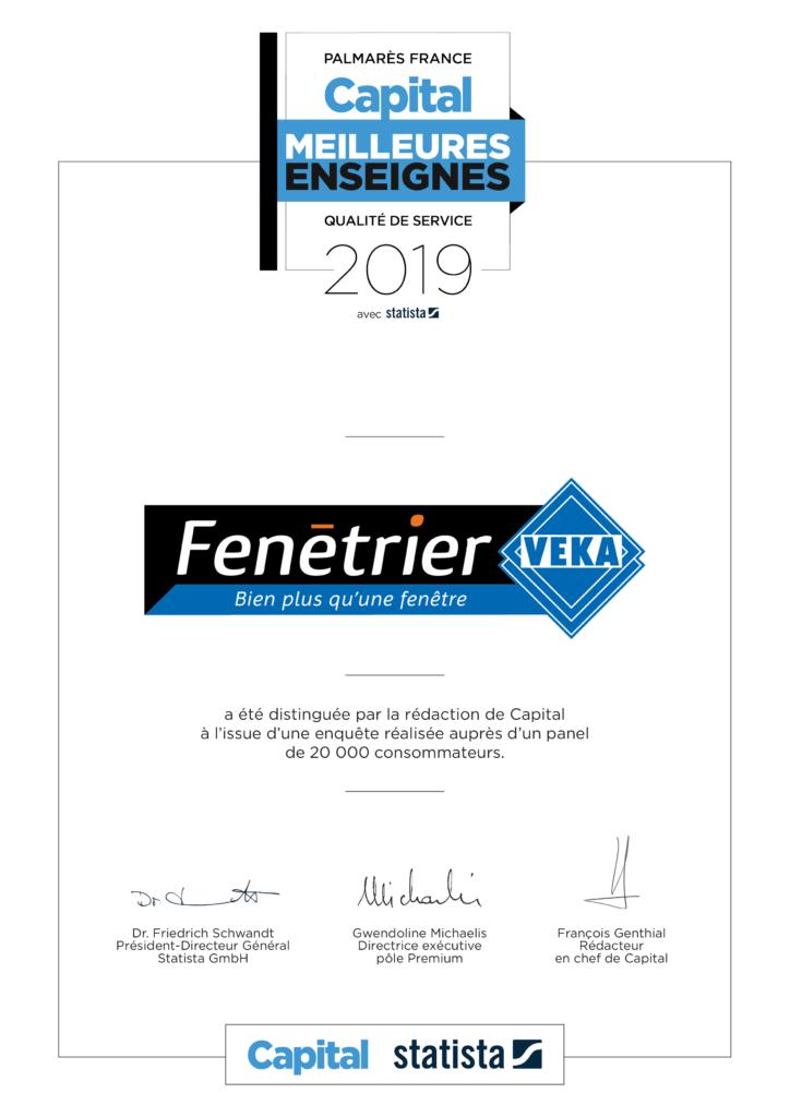 FENÉTRIER VEKA: Première place du palmarès 2019 des meilleures enseignes dans la catégorie «vente et pose de fenêtres».